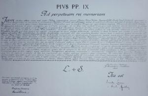 Az 1863-ban kiadott  Breve, mellyel IX. Pius pápa megerősítette rendünk alapító elődjének a Szent László Társulatnak a működését.
